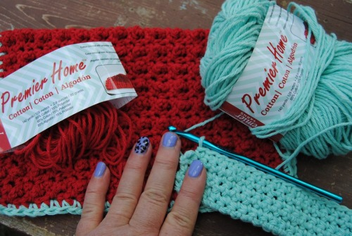 Have you ever had one of those days, where you just want to make a dishcloth? That was how I was feeling on Sunday. I had some yarn left over from my crochet-on-the-double project so I made a red dishcloth with aqua trim. Now I am making an aqua one and hopefully I have just the right amount of red to go around it for trim.
