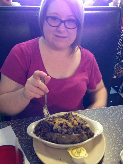 as did Jennifer with her baked potato that was the size of her head. John did the same with his salad.