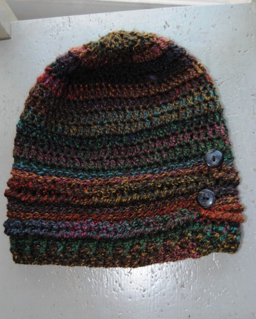 Of course some of you will recognize this hat design. It is from Moogly's Ups and Downs Slouchy Hat pattern. I love that no matter what yarn you use it always looks good.
