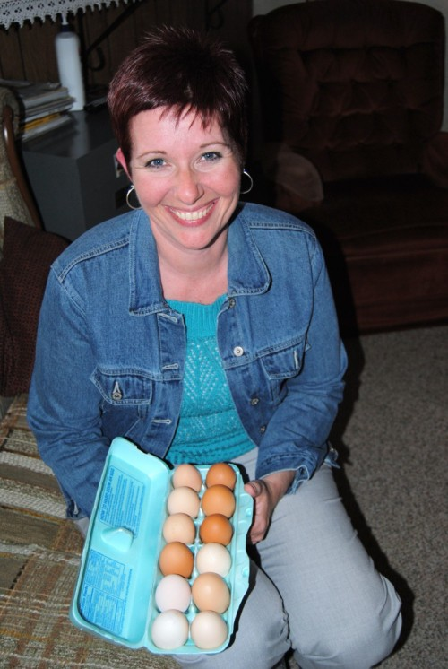 My friend Donna collecting eggs from Jared for her kindergarten classroom.