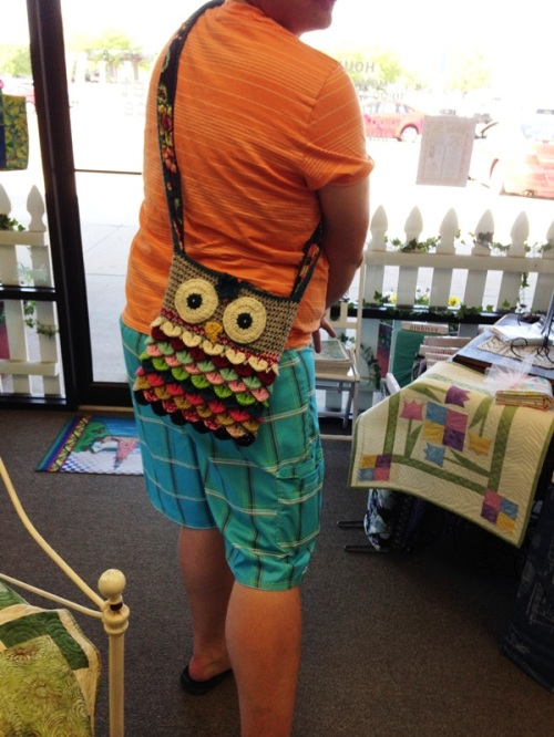 I delivered the owl bag to my customer's husband.