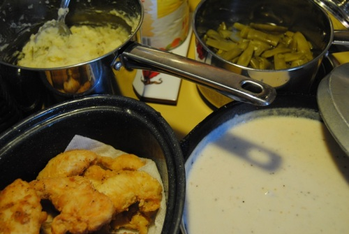 Another one of Joshua's meal requests was fried chicken, mashed potatoes, gravy, and green beans. I even made fried chicken for Rian with rice flour.