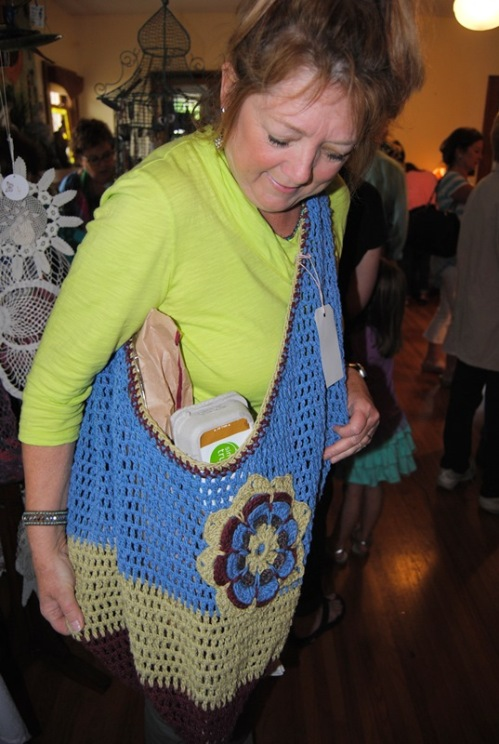 Here's Rosa with one of her cute crochet market bags that she had for sale.