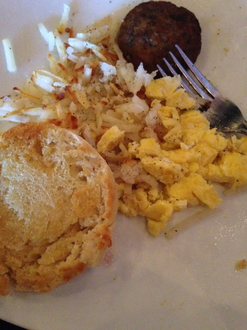 I had scrambled eggs, sausage, hash browns, and an English muffin.