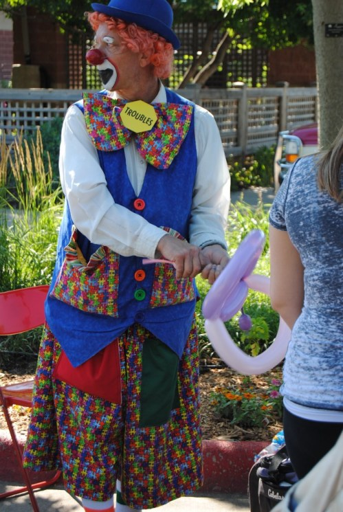 It's always fun to watch Troubles the clown make balloon animals for the children.