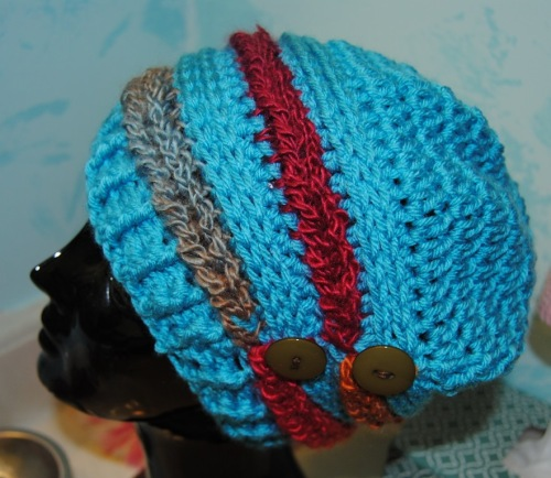 Here's a colorful Moogly's Ups and Downs Slouchy Hat.