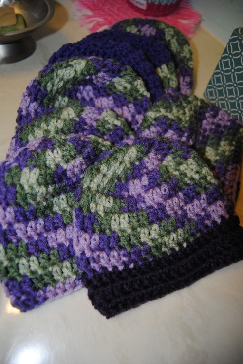 And last but not least here's 8 more purple hats; and when added to the other purple hats I made I have a grand total so far of 38. I hope to have more to add to that number before the upcoming July 20th KS My Stitch crochet guild meeting. :)