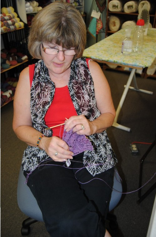 I love that Lisa, the owner of Picket Fence Quilt Company is always eager to work on one of her many projects that she has going, while waiting for me to teach my classes. Thank you Lisa for allowing me to teach my love for crochet.
