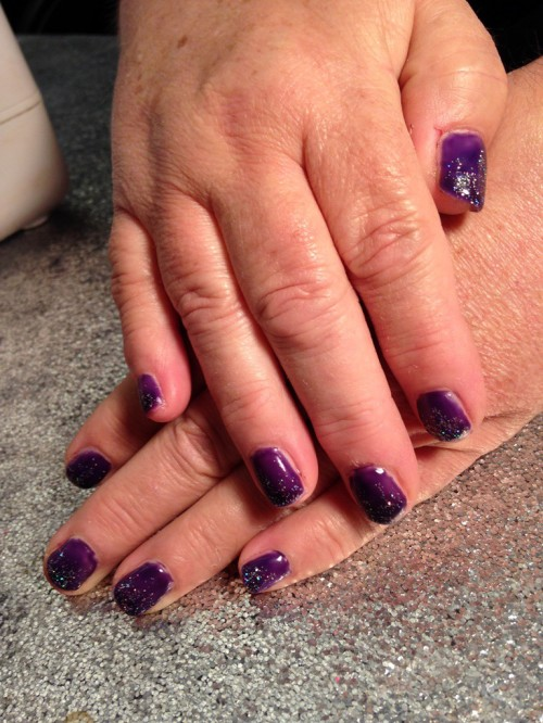On Thursday night I had my nails done again. This time I chose dark purple and Ms. Liley gave them just the hint of sparkle. I love the way Ms. Liley pampers me.