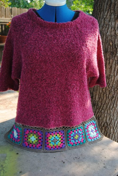 Two weekends ago I was fortunate to go on a crafting retreat and I rescued this sweater on one of our outings to town. (Etcetera Shop in Newton, more about that later) Anyway, I thought it needed some granny squares along the bottom to give it some more length.