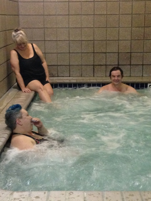 Here we are enjoying a relaxing soak in the hot tub. We always have such a wonderful time with Susie and Korey and we never seem to want it to end.