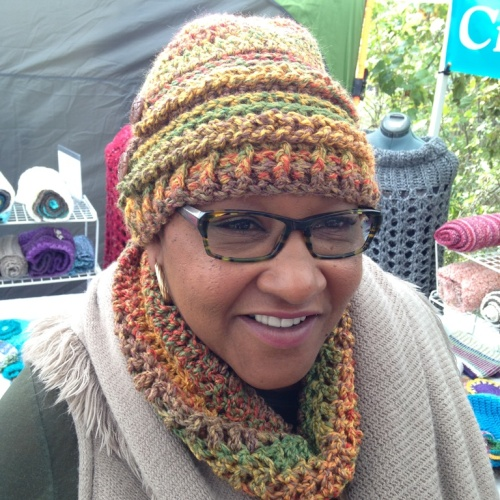 This lady came into my booth with the cowl around her neck that she had purchased in one of the other crochet booths. When she found this hat that matched she couldn't resist buying it. I'm so happy that she wanted it.
