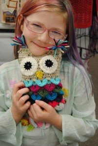 I made this sweet little owl over the weekend and named her Eloise after my newest great niece that was born on Thursday, October 15, 2015. My great niece's name is Sofie Eloise and I loved the name Eloise so much that I wanted this little owl to have the same name. When I took her to show and share at our KS My Stitch Crochet guild morning meeting. When I pulled Eloise out of my bag, our newest guild members daughter Haley said that she loved the owl and would like to have it. When I told her mother that the owl was for sale she told me that she couldn't resist buying it for Haley and of course I agreed with her. Haley was such a sweet and well behaved little girl and I knew that she would take care great care of Eloise. I'm so happy that Haley and her mother love owls as much as I do. I hope everyone is having a great week and am looking forward to making more of these little owls.