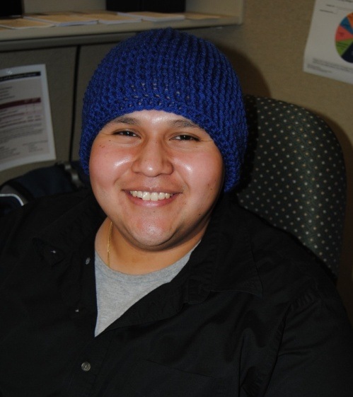 Here's another satisfied customer. This is one of my co-workers who moved here from Houston, Texas and the winters here are very cold for him. I know he will stay nice and warm in his new hat.