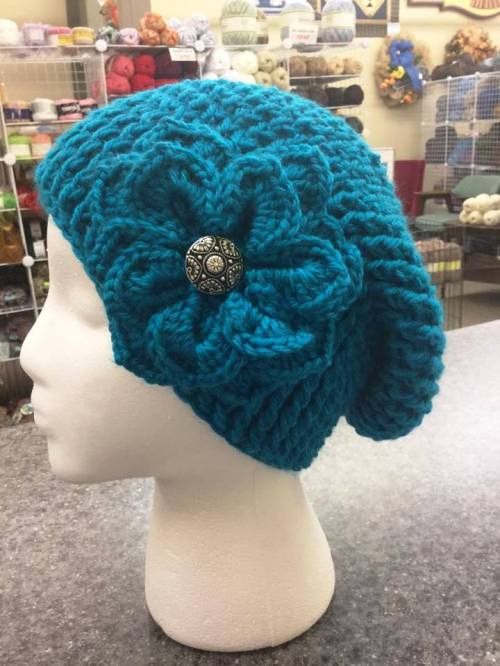 Then from 1:30-3:30 I will be teaching the Reversible Slouchy Hat with Crocodile Stitch Flower. If you've ever wanted to make a very textured hat, this is the class for you. Call Catherine at Creation Station in Newton. (316) 772-0883