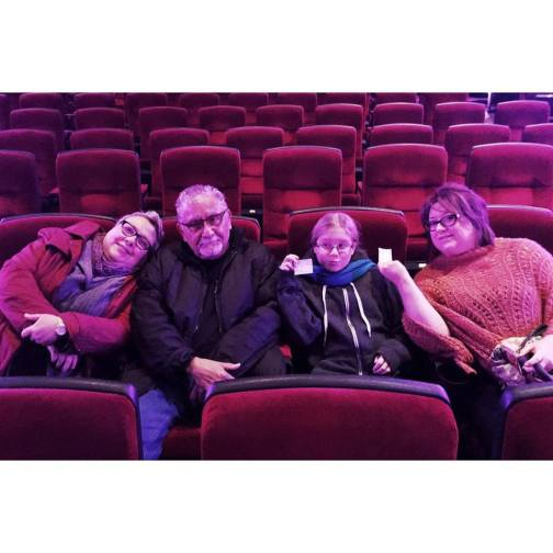 Once lunch, pictures, and a few games of Uno were over we decided that we would go see the movie; the Kind Dinosaur. It was great and our friends Joy and Sandy were there too with some of their grandchildren.