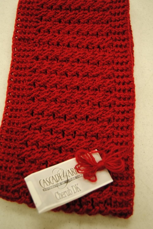I have also been busy making store models for Picket Fence Quilt Company. Here is a crocheted cabled cowl made from Cascade's Cherub DK. The pattern is a free pattern from Cascade's website. The class for the Cabled Cowl at Picket Fence will be January 13, 2015 from 6:00 pm-8:00 pm. Please call Picket Fence at (316) 558-8899 to reserve your spot. I will be teaching another Crocheted Cable Cowl class in Newton at Creation Station on November 21, 2015 from 10:30-12:30. The class cost is $35 that includes the beautiful Cascade Heritage Silk yarn. Call ahead to get your yarn wound before the class.