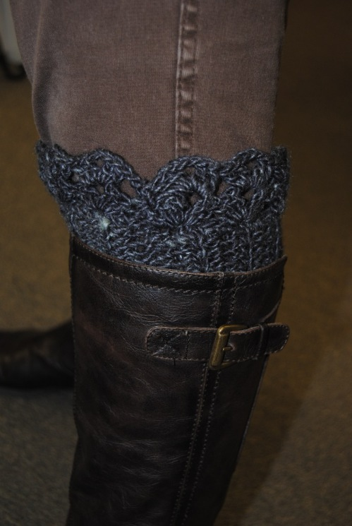 Here is one of the boot cuffs from my boot cuff class that I will be teaching this Saturday, November 14, 2015 from 10:00 - 12:00. These boot cuffs are fast and easy to make. Perfect for those last minute gifts for anyone who loves to wear boots. This class is also beginner friendly. Please call or visit Picket Fence to get your yarn wound.