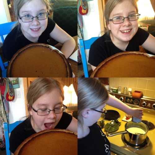 One of Megan's favorite pies is pumpkin pie and I couldn't resist taking these pictures of her with the pumpkin pie.