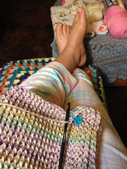 On Saturday I was so grateful that I had a chance to kick up my feet and just crochet.