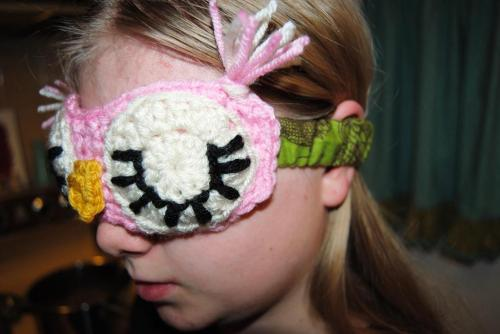 So, I made her an sleeping owl mask.