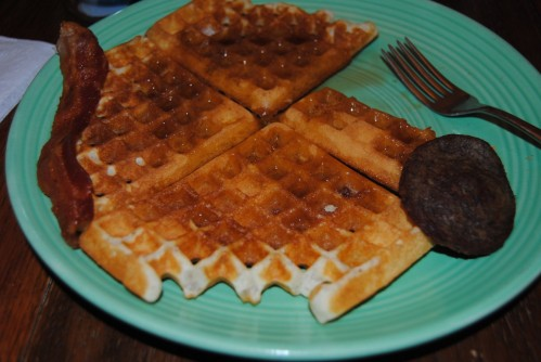 Jennifer, John, and Megan like peanut butter on their waffles; but not me. I just like butter and syrup. Yummy; now I want a waffle.