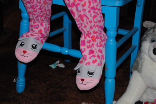I just loved her footed pajamas. I remember wearing footed pajamas when I was young and I loved them.