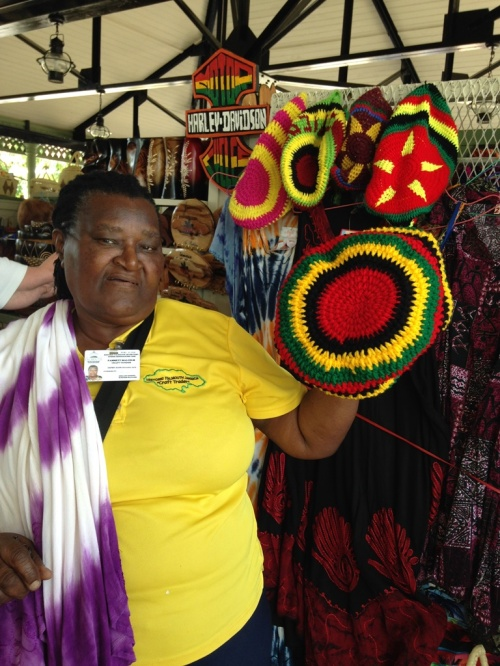 Here is one of the ladies that I met in Jamaica who crochets hats, bags, and makes dresses. Oh by the way I purchased that dress that was hanging over her shoulder.
