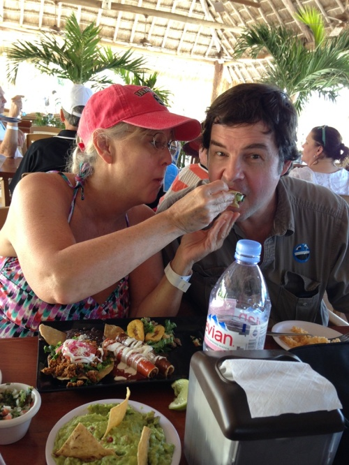 Susie and Korey really enjoyed the Mexican food in Cozumel.