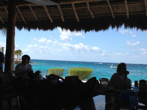 Here's our view from our table in the restaurant in Cozumel.