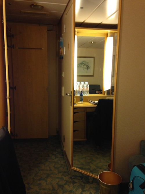 Here is a picture looking towards the door of our cabin, just behind the mirror was the tiny bathroom. The cabins reminded me of a camper.